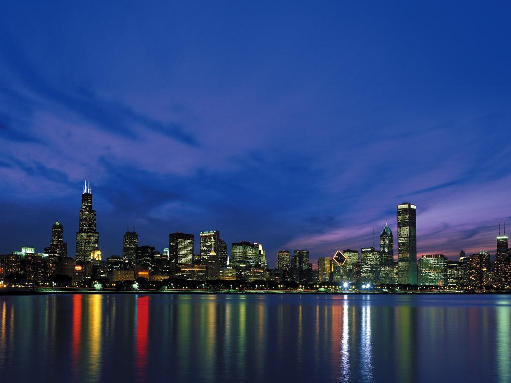chicago night skyline wallpaper - photo #17