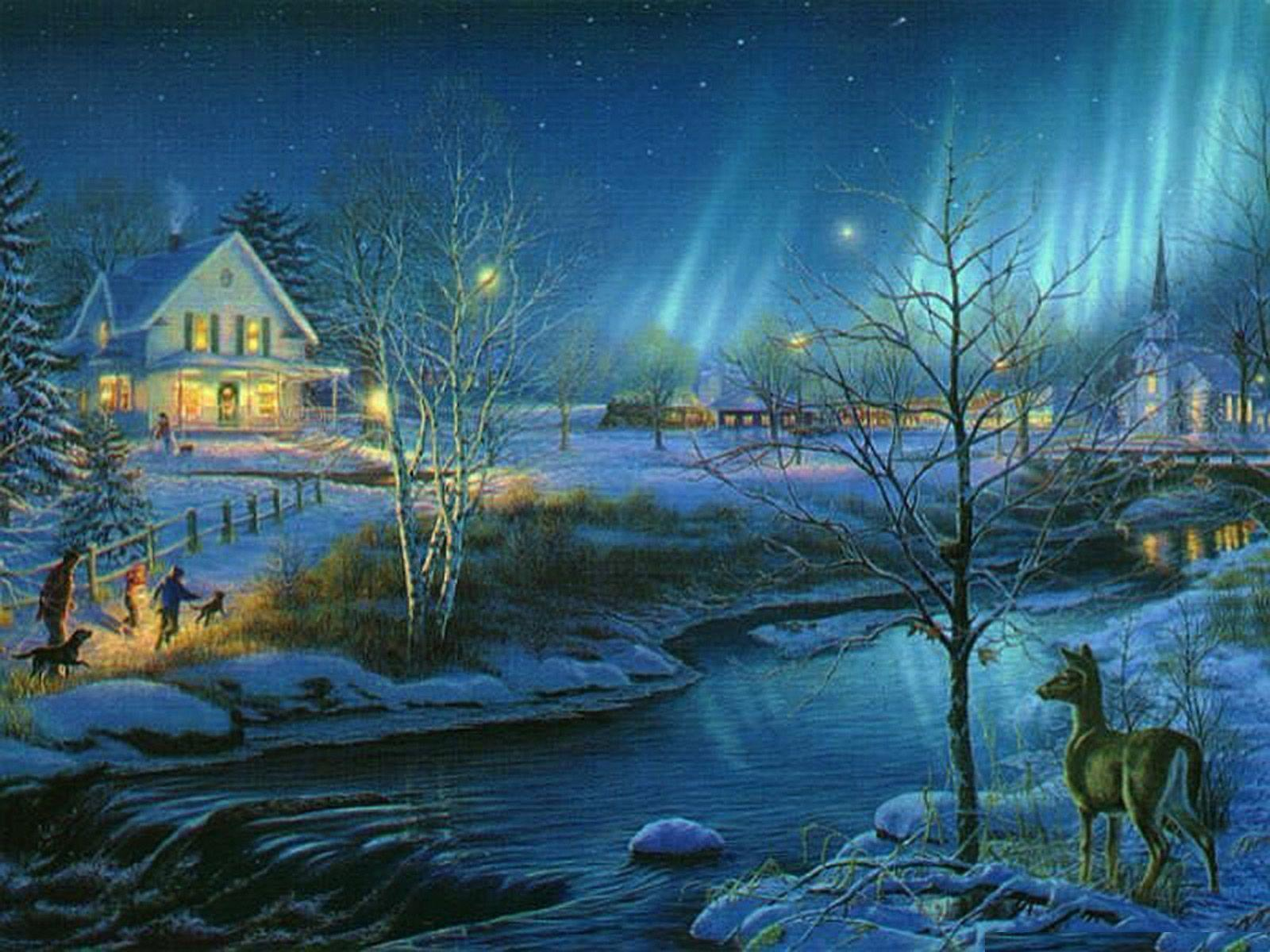 Free Christmas Landspace Scene wallpapers Wallpapers