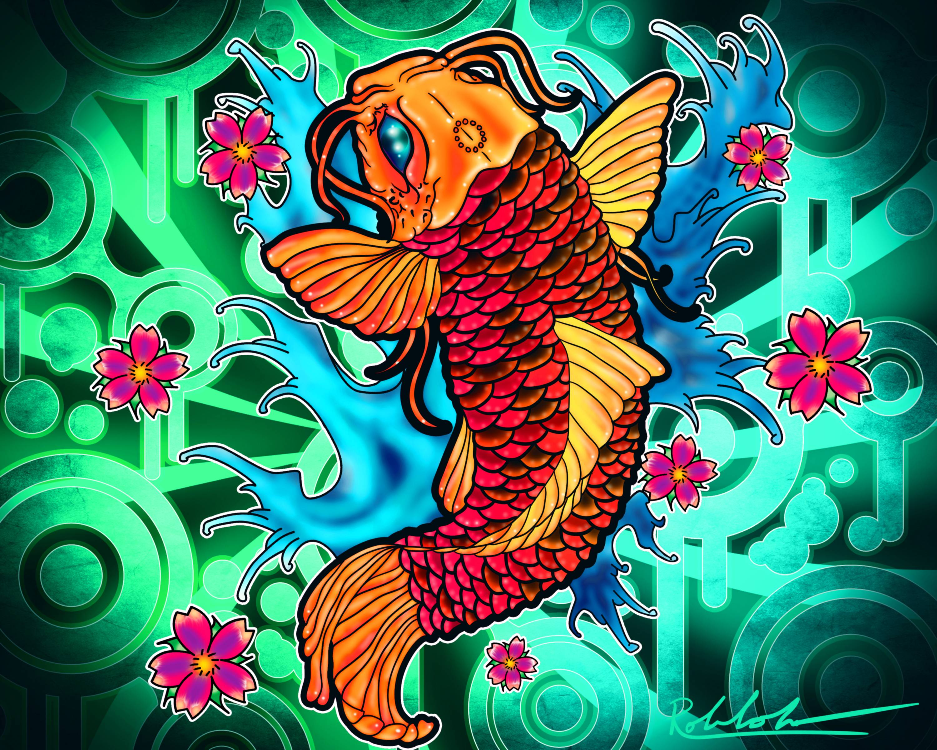 Animals For > Koi Fish Drawing Wallpaper