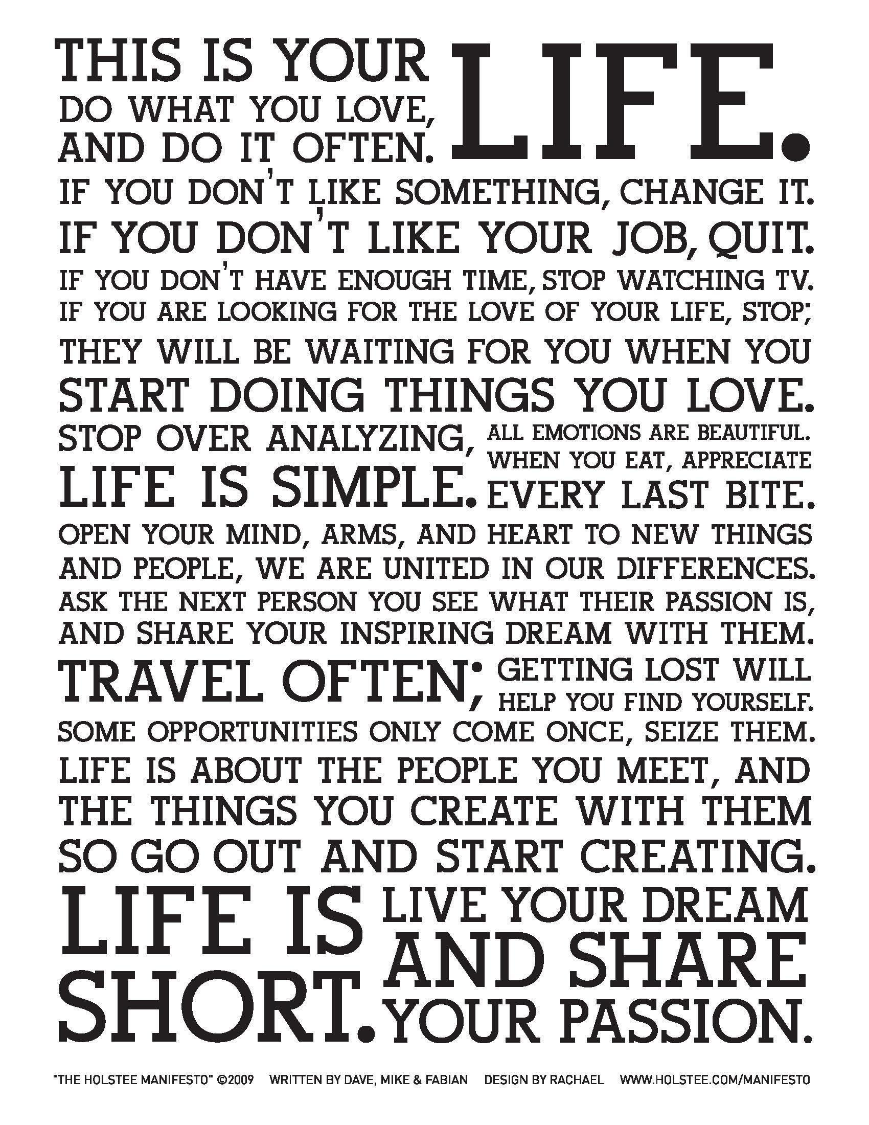 holstee manifesto wallpapers wallpaper cave. Black Bedroom Furniture Sets. Home Design Ideas