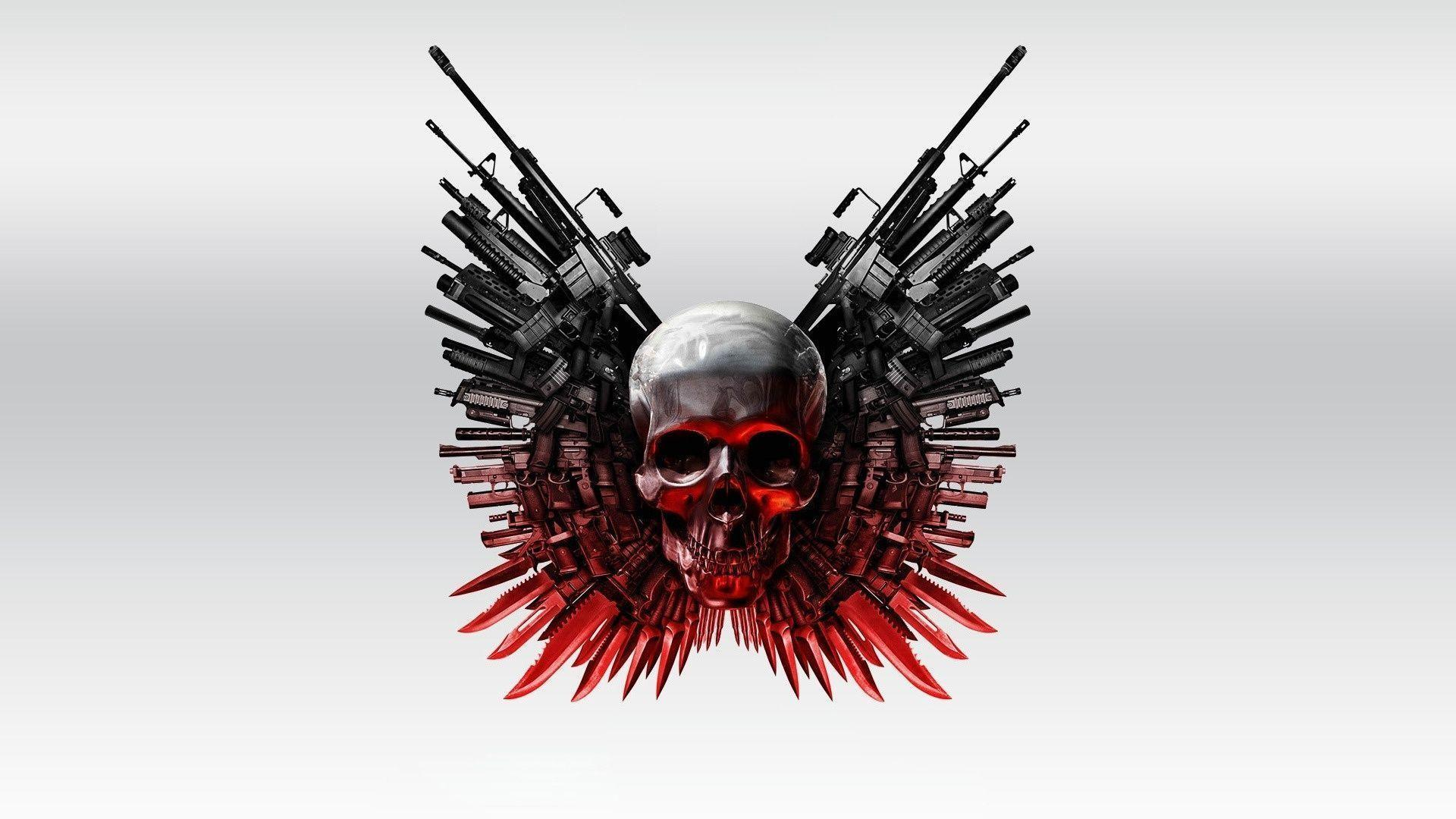 3D Wallpapers: Weapons and skull