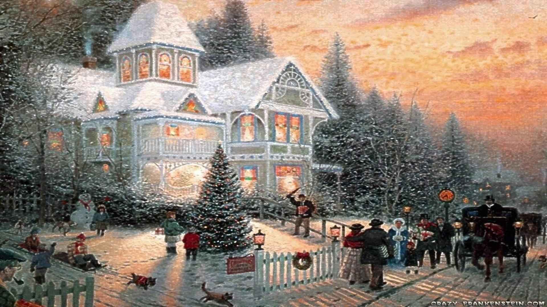 Christmas scene near house happy Christmas greeting card free