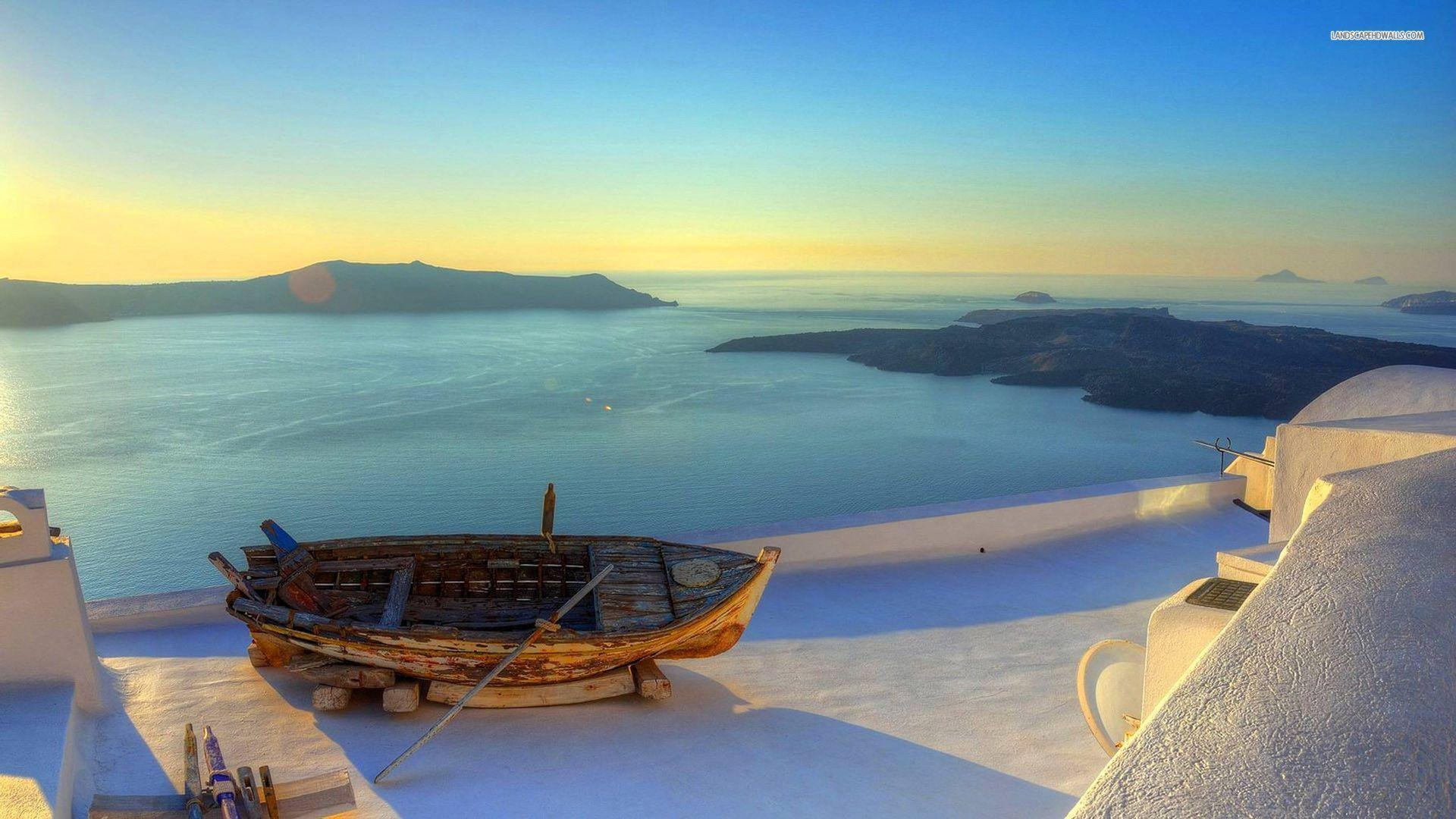 Sunset over Santorini wallpapers #