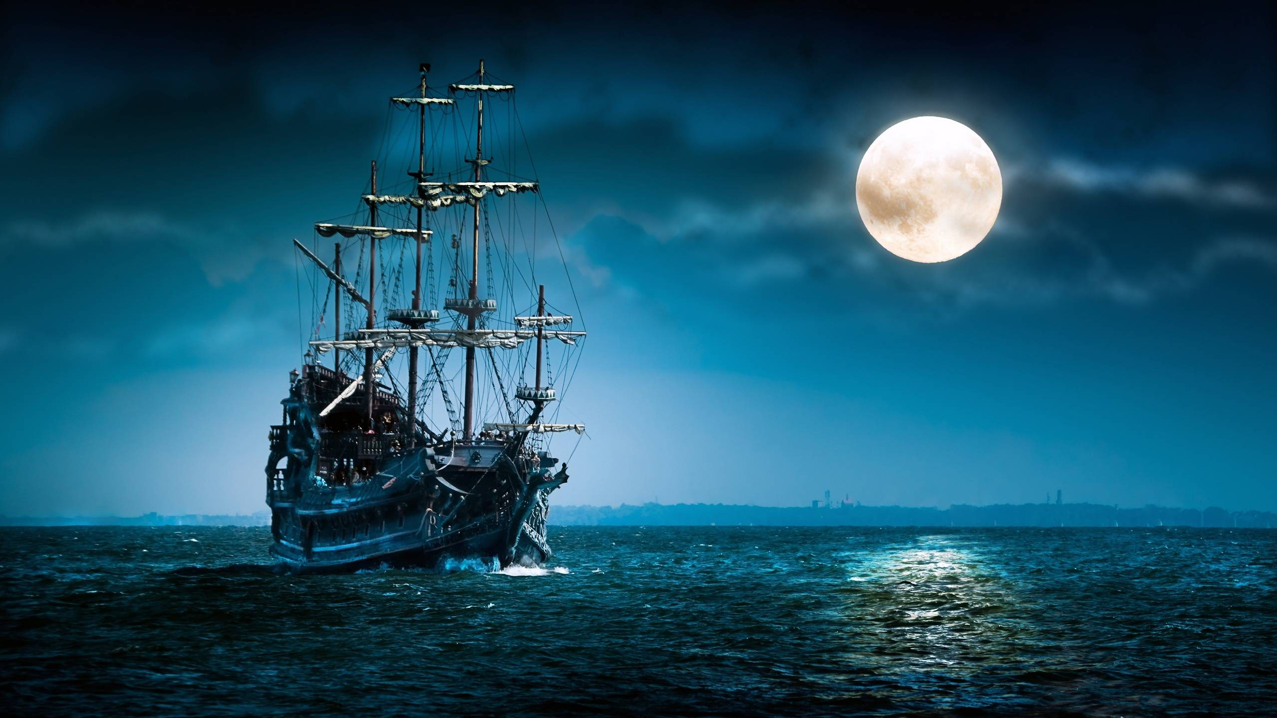 Navigating Under The Moonlight Night Wallpaper 2560x1440 Px Free