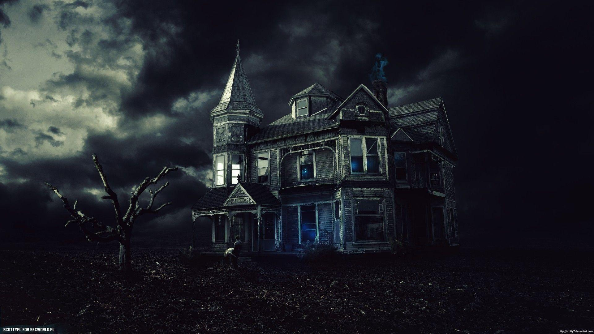 Haunted house wallpapers wallpaper cave for Wallpaper with houses on it