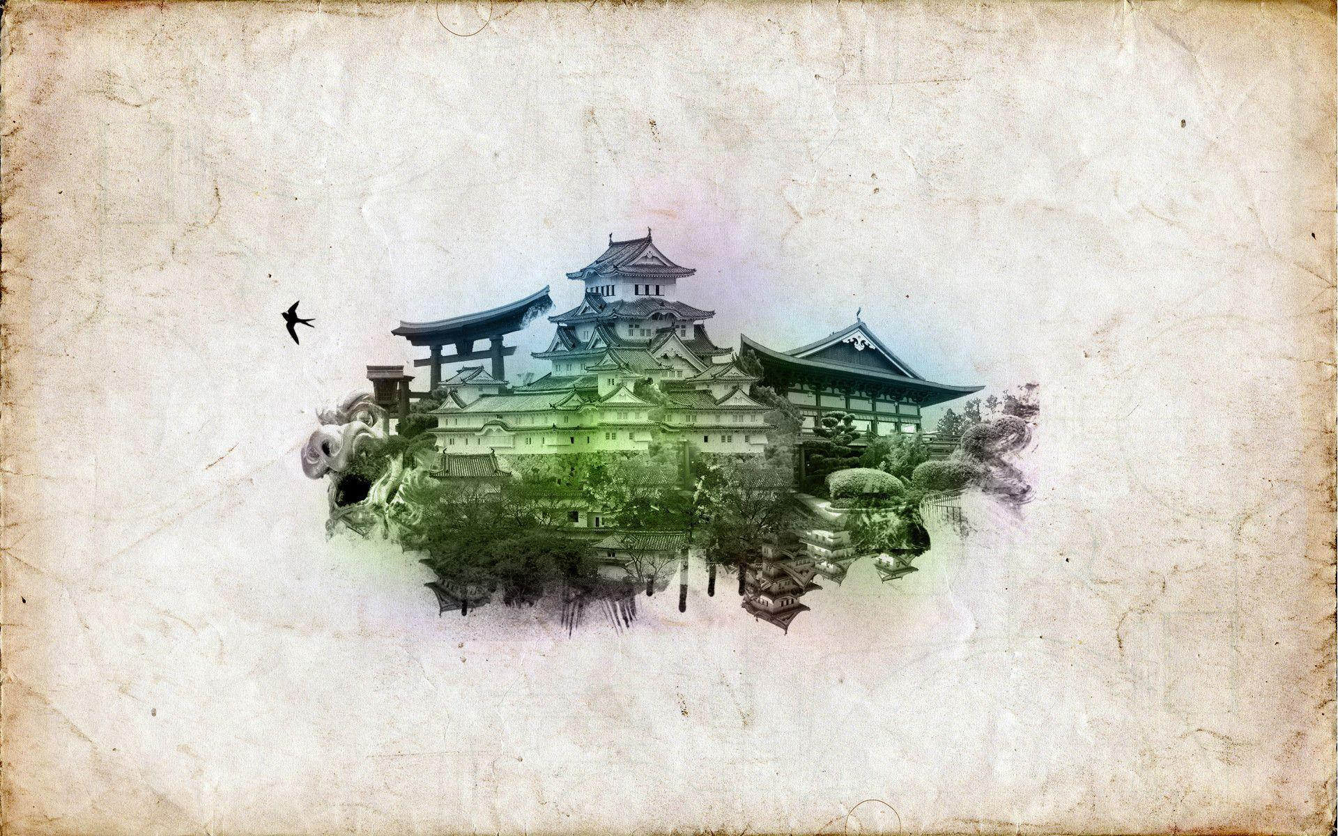 oriental themed wallpaper stained - photo #26