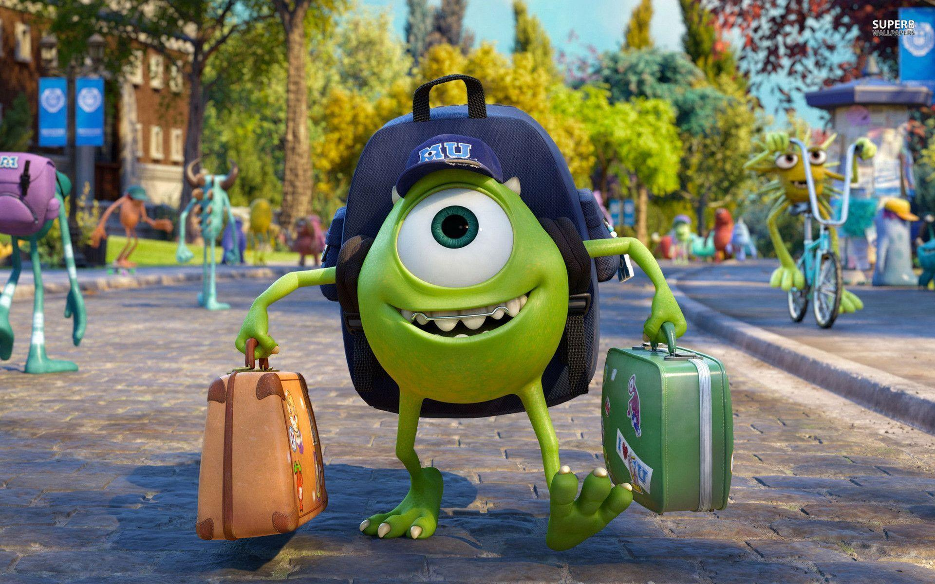 Wallpaper iphone monster university - Mike Wazowski Monsters University Wallpaper Cartoon Wallpapers