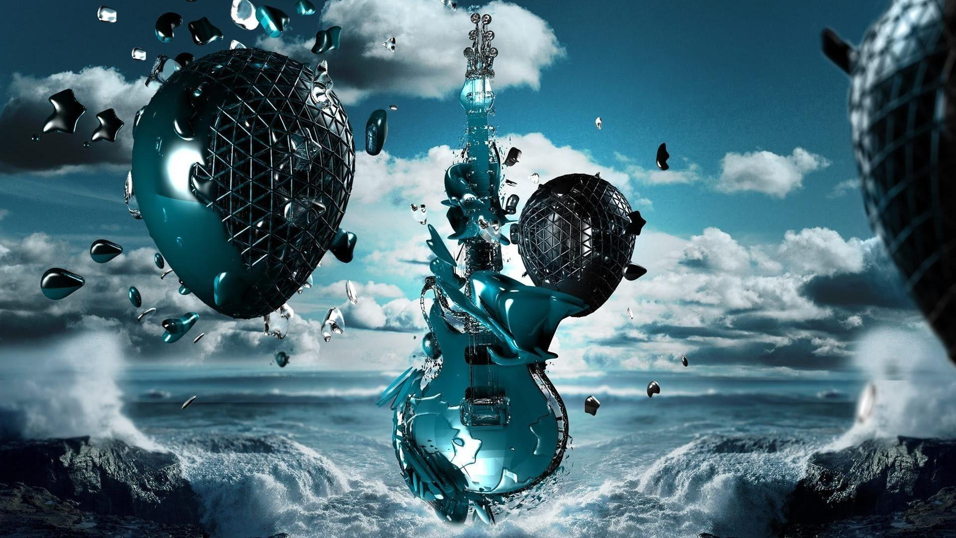 Stylized electric guitar Wallpapers #
