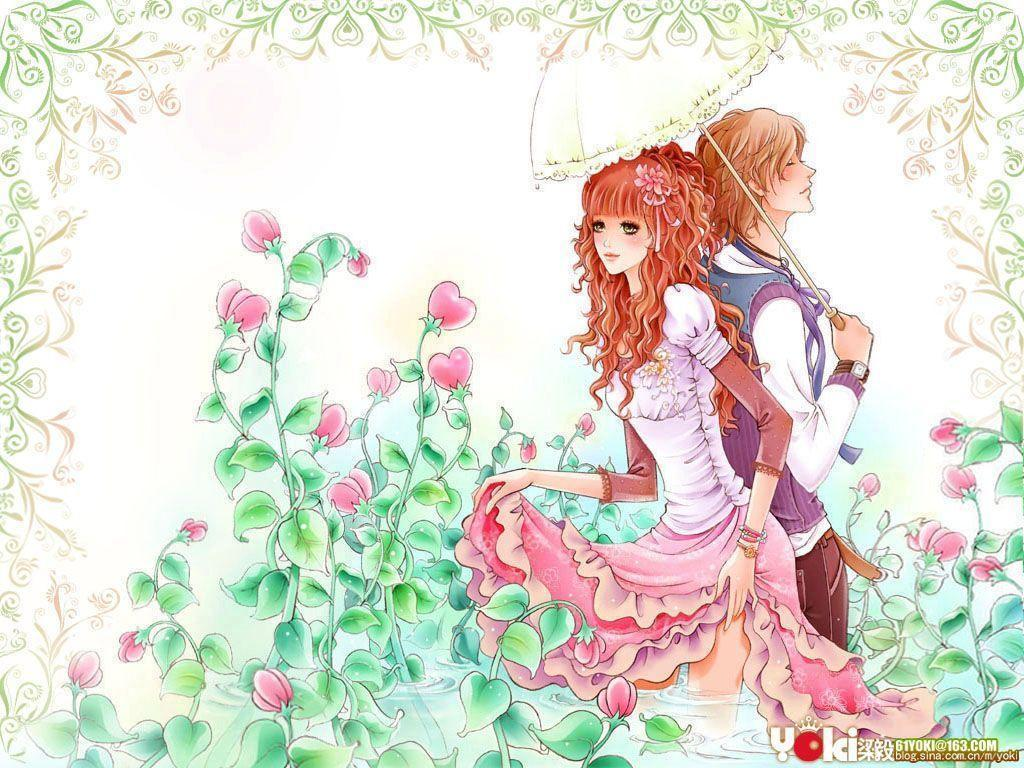 Romantic Love Girl Wallpaper : Love cartoon Wallpapers - Wallpaper cave