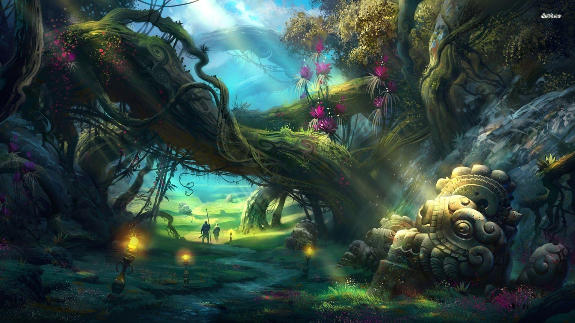 Enchanted forest backgrounds wallpaper cave for Cool fantasy drawings