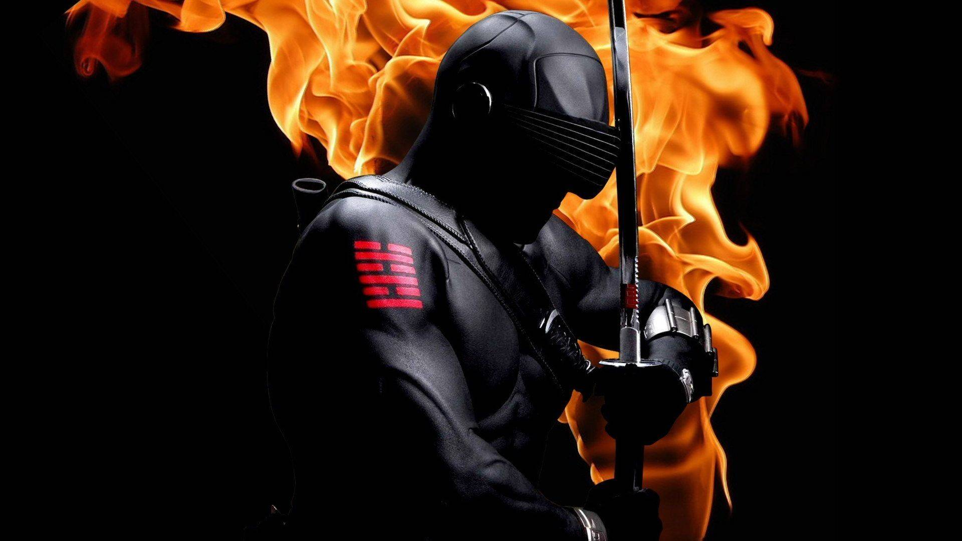 Snake Eyes GI Joe With Sword On Fire