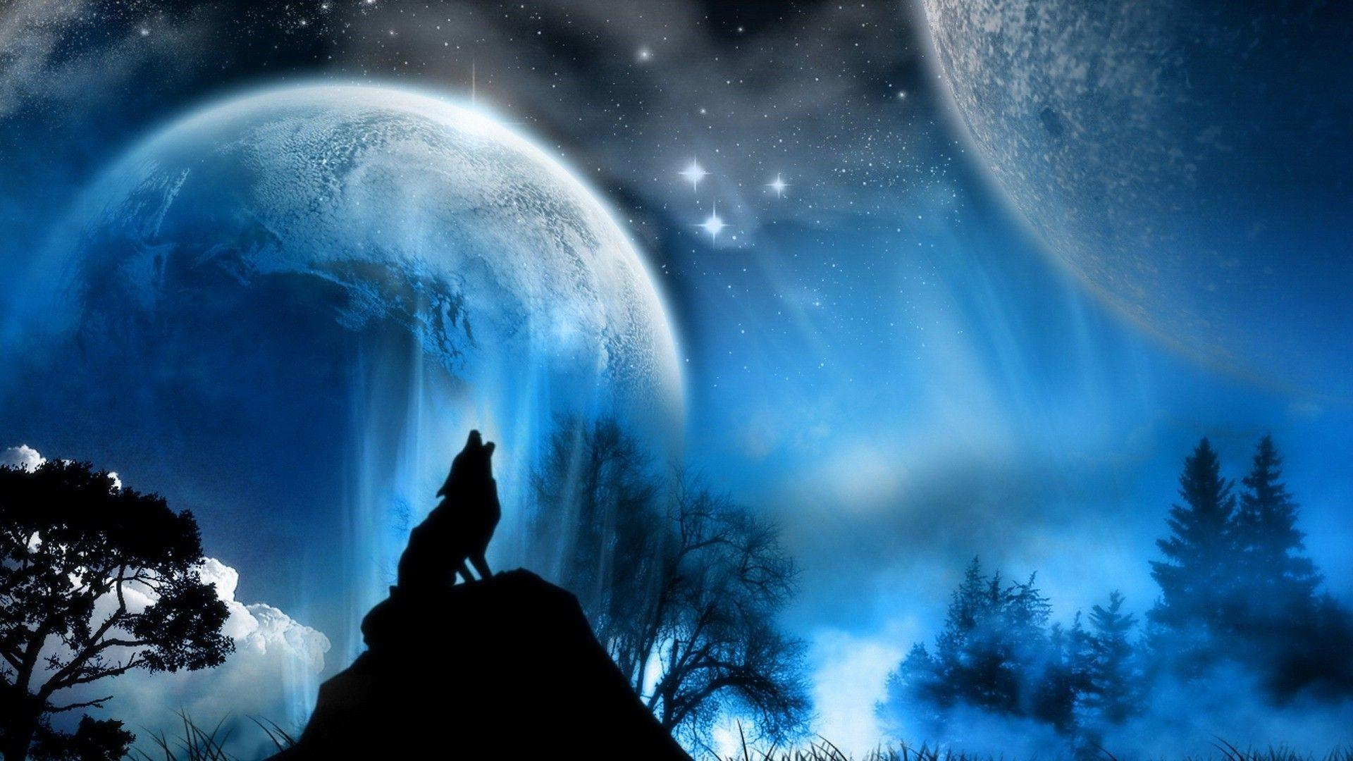 Free Download Wolf Howling Full Moon Hd Wallpapers Lowrider Car