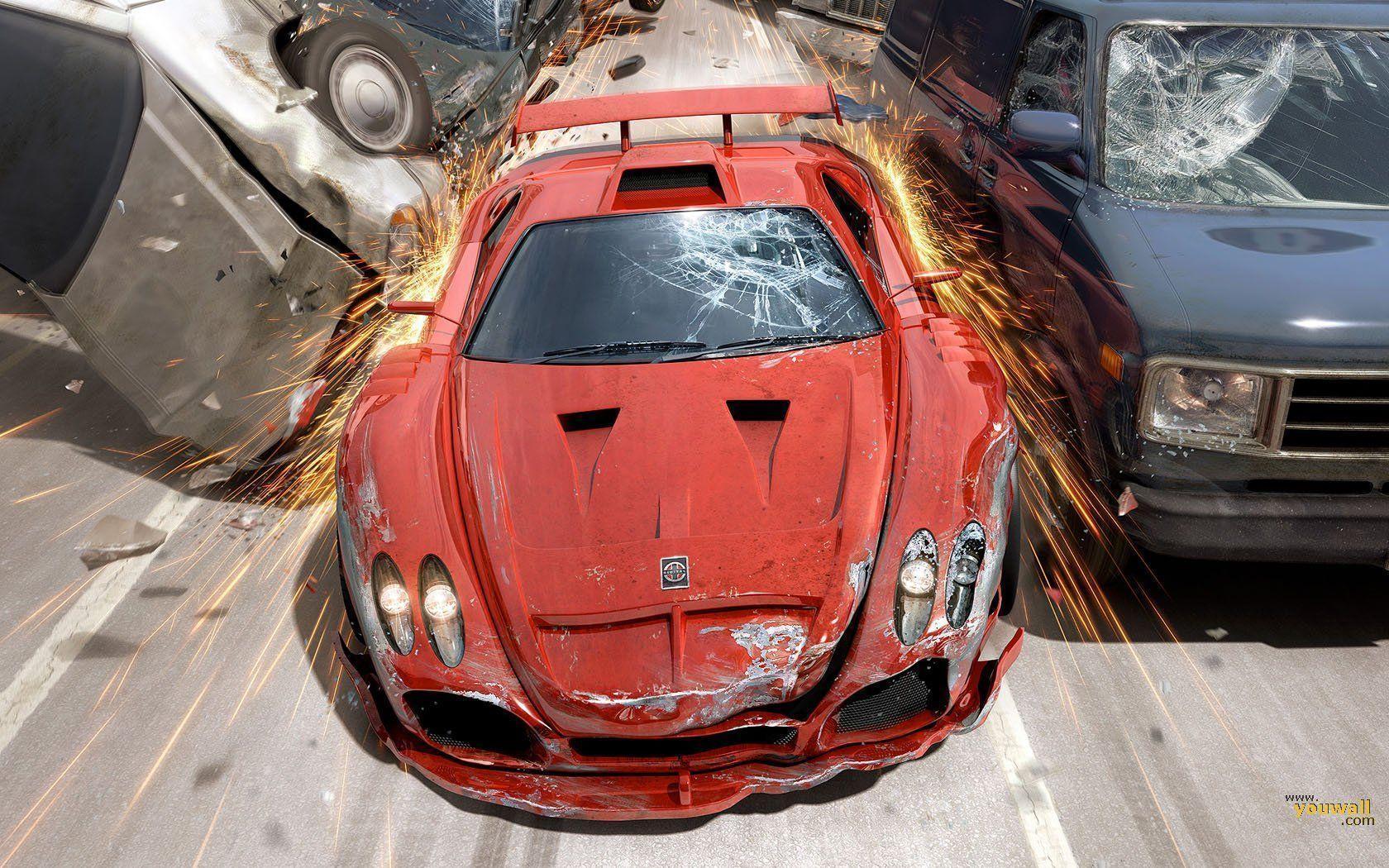Crash car 3d wallpaper 11