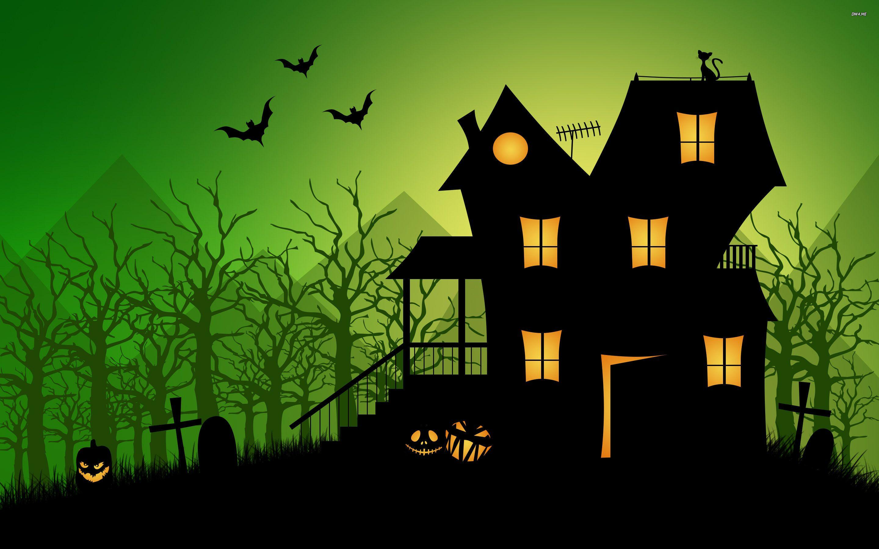 Haunted house wallpapers wallpaper cave for Wallpaper with houses on