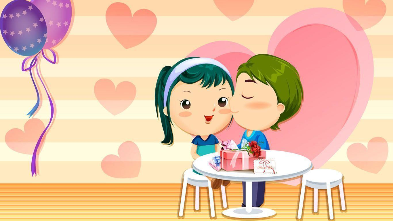 Wallpaper Hd Love Kiss cartoon : Love cartoon Wallpapers - Wallpaper cave