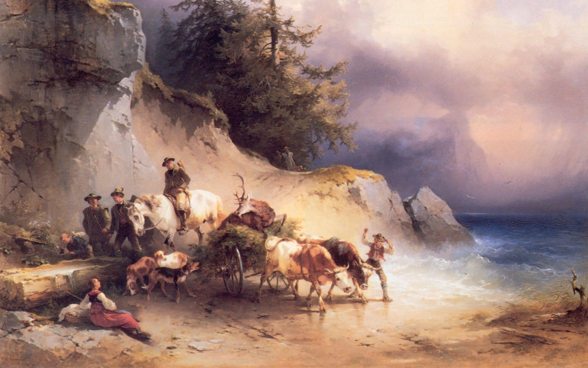 Rural Activity Art World Famous Paintings Wallpaper, iPhone