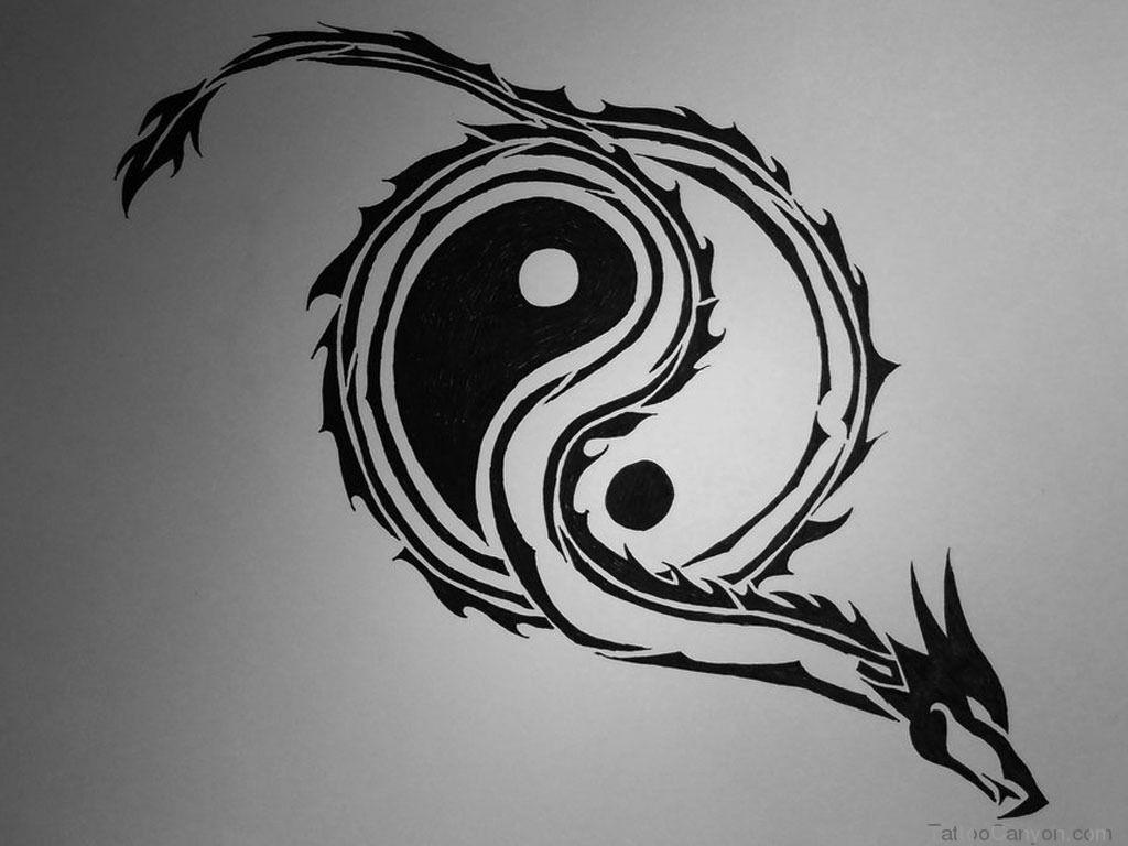Yin yang dragon wallpapers wallpaper cave - Tatouage ying yang ...