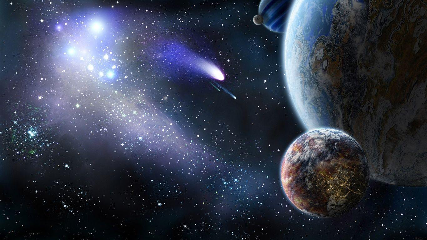Planet and comet in space Wallpapers