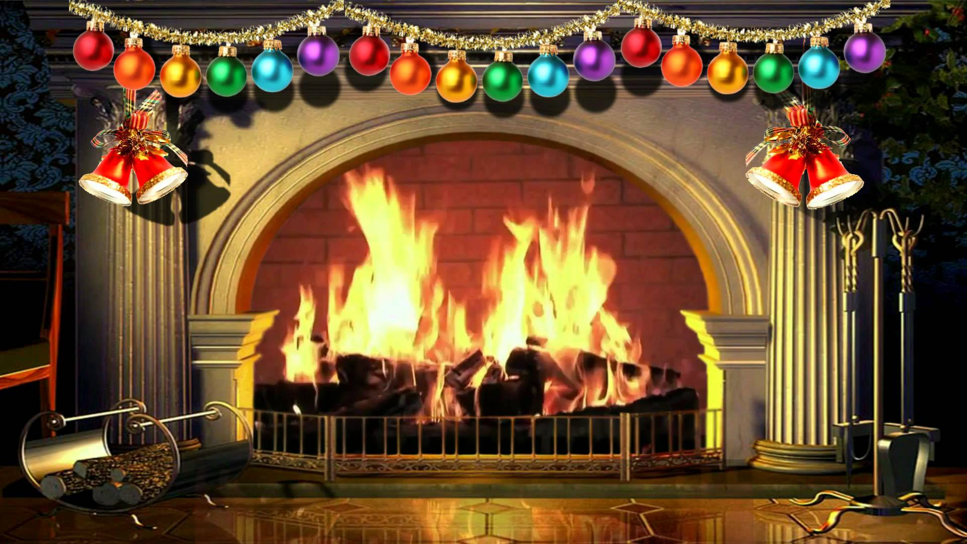 Christmas Decorated Fireplace Screensaver : Christmas fireplace backgrounds wallpaper cave