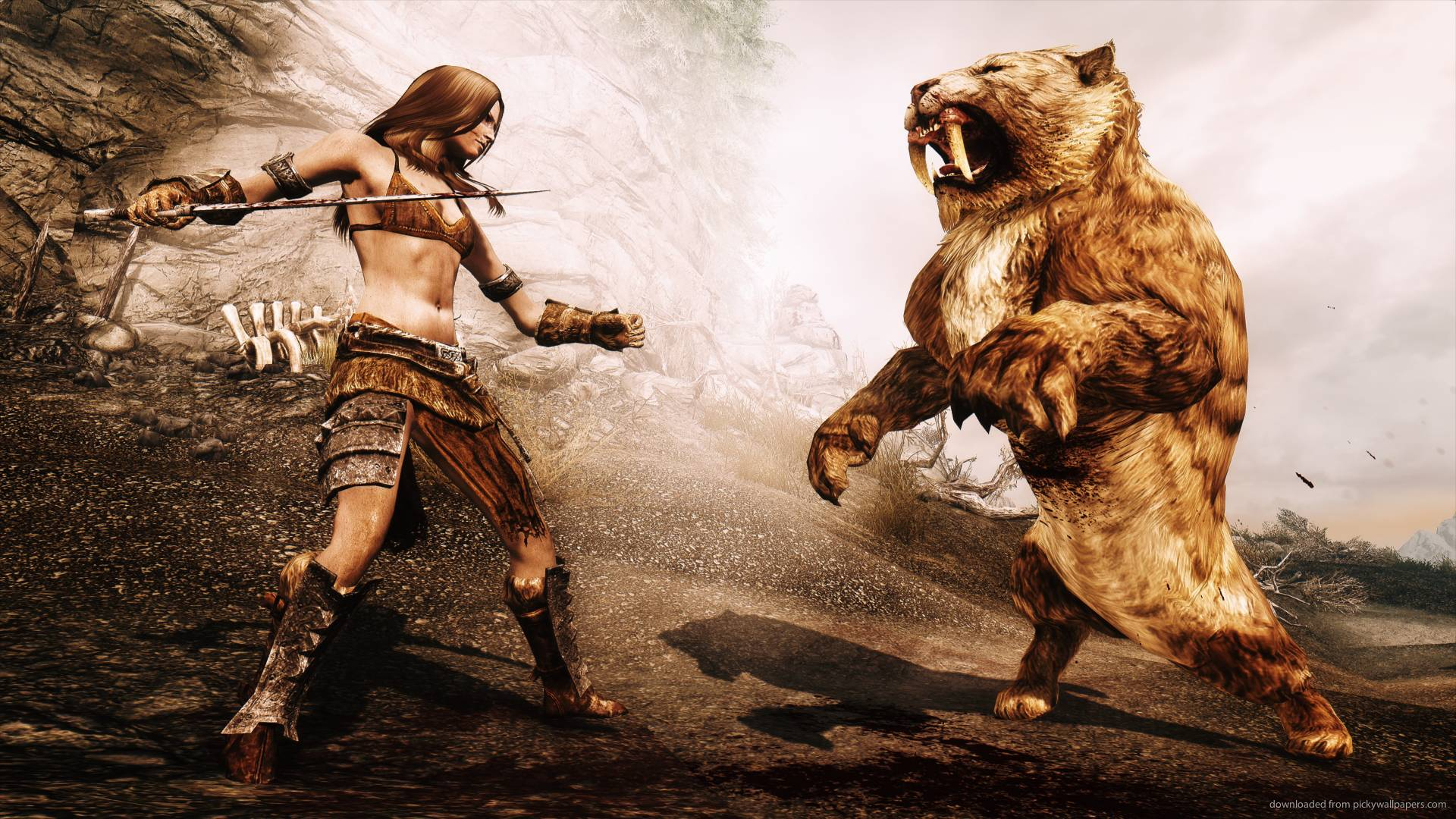 Skyrim Fight With A Sabre Tooth Tiger Wallpapers For iPad