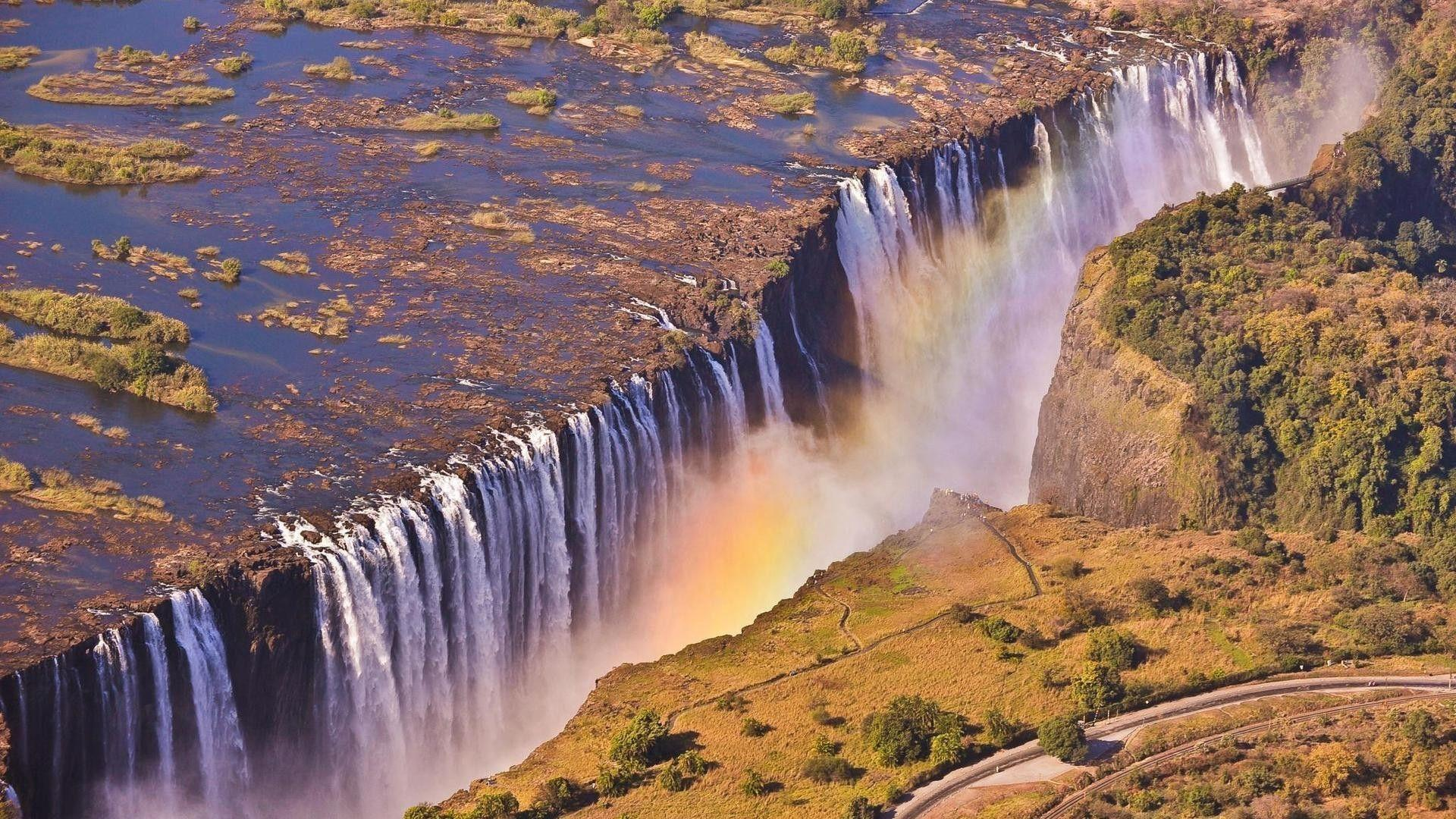 Rainbow Over Victoria Falls At Night Hd Desktop Backgrounds