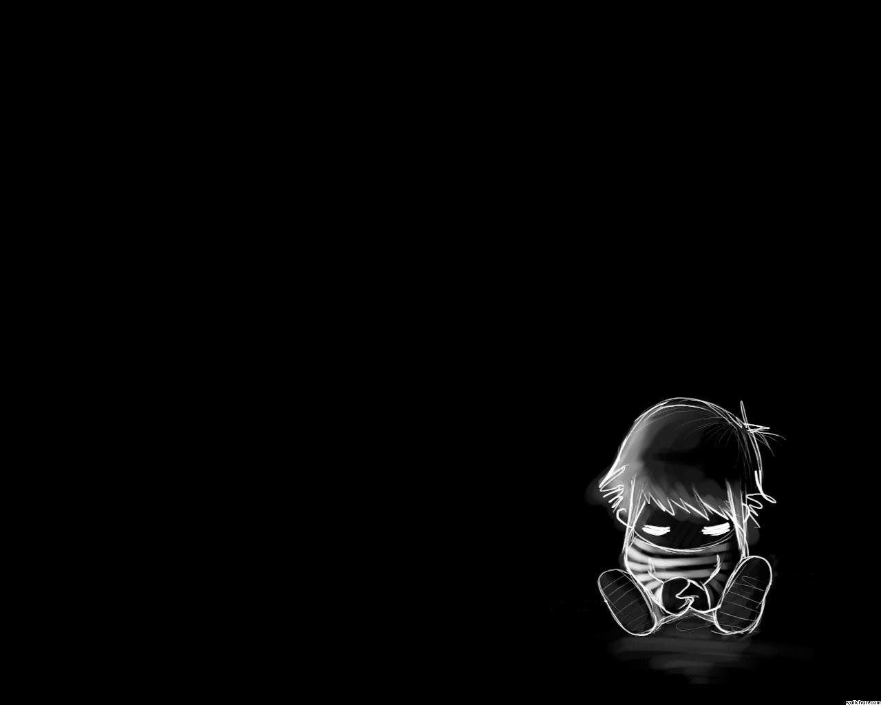 Black wallpaper sad