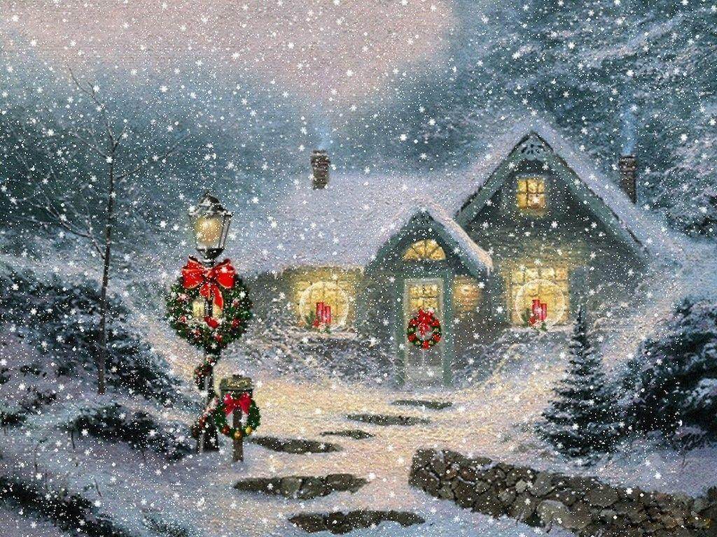 Christmas snow scene wallpapers wallpaper cave Christmas card scenes to paint