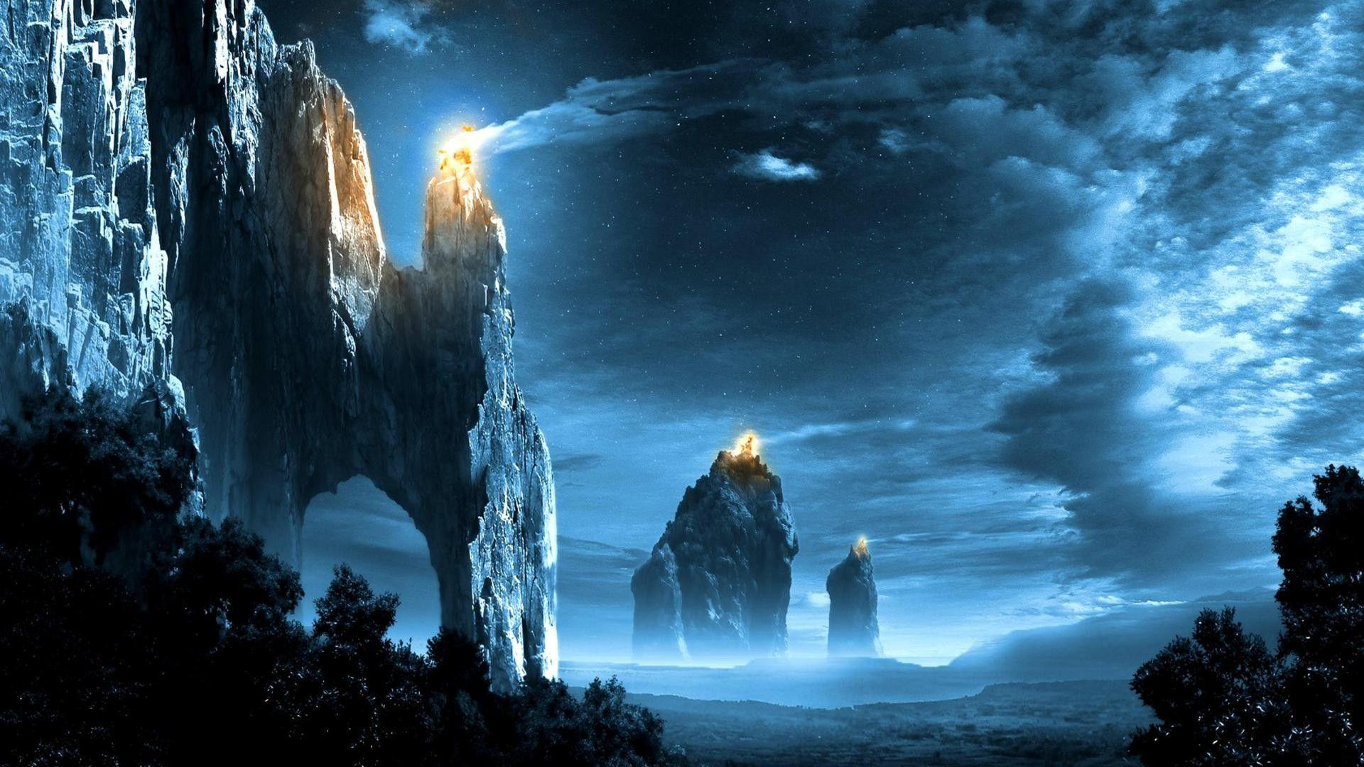 Fantasy art landscapes fire signal lord rings games wallpapers