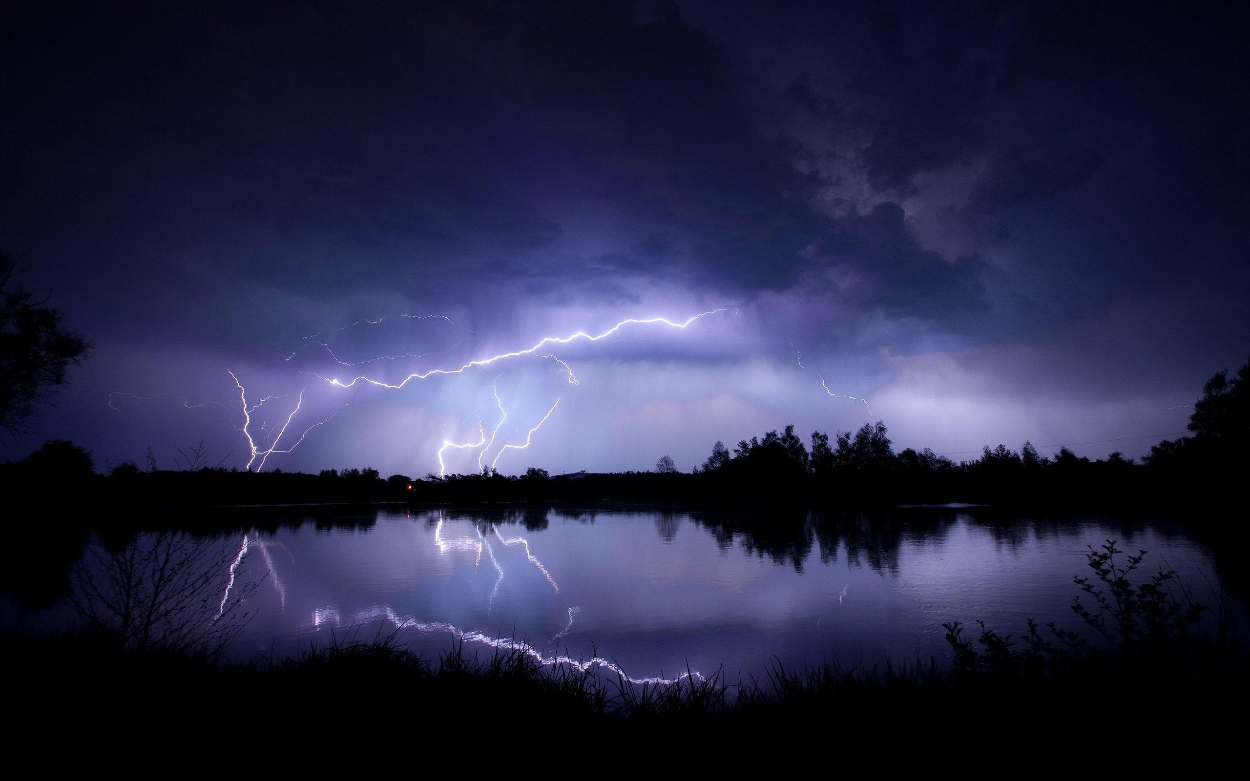 Lightning Storm over a Lake at night. : wallpapers
