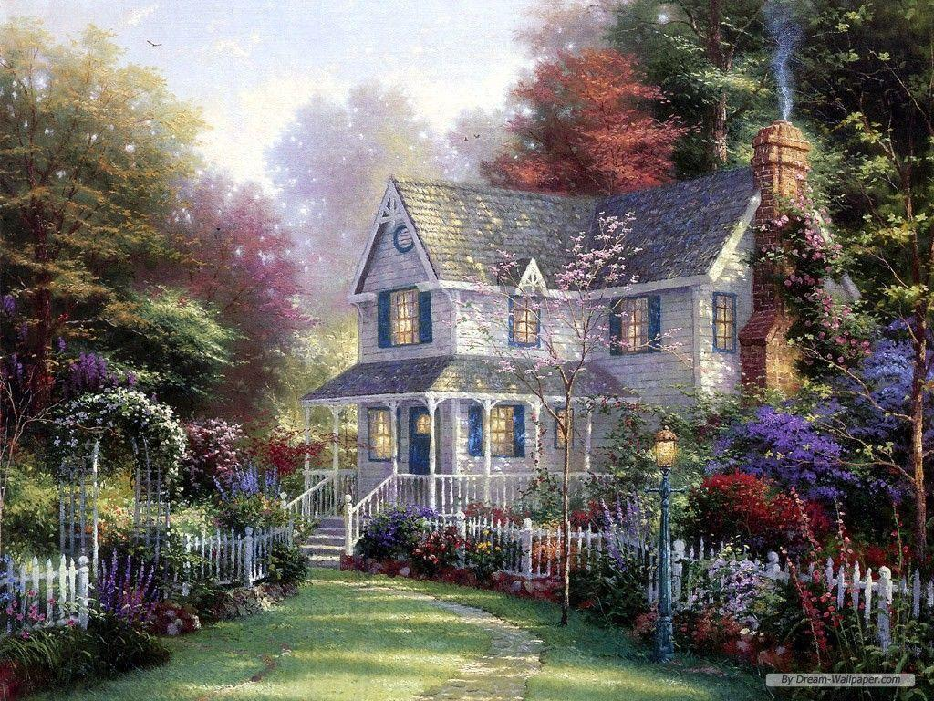 Free thomas kinkade wallpapers for desktop wallpaper cave for Oil paintings for the home