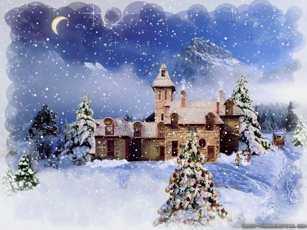 Winter christmas wallpapers wallpaper cave - Christmas village wallpaper widescreen ...