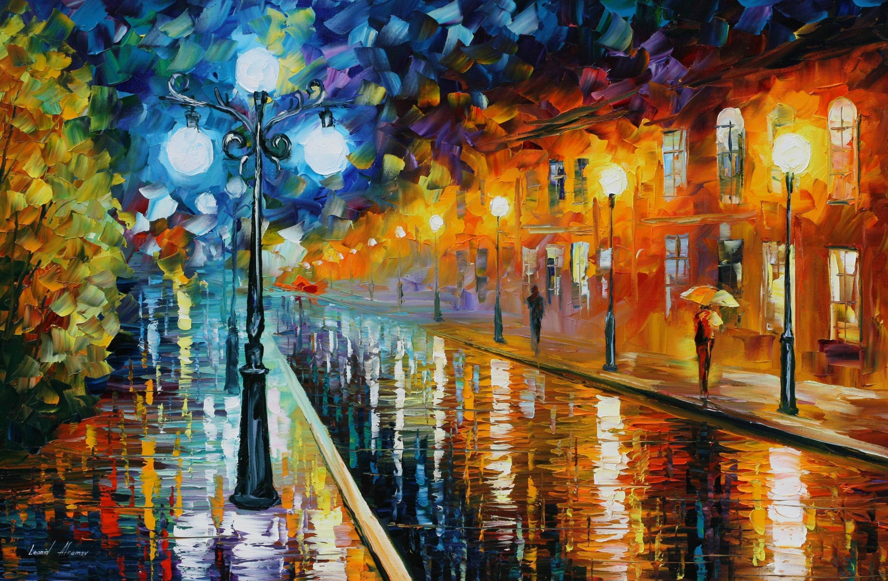 Leonid afremov wallpapers wallpaper cave for Blue paintings on canvas