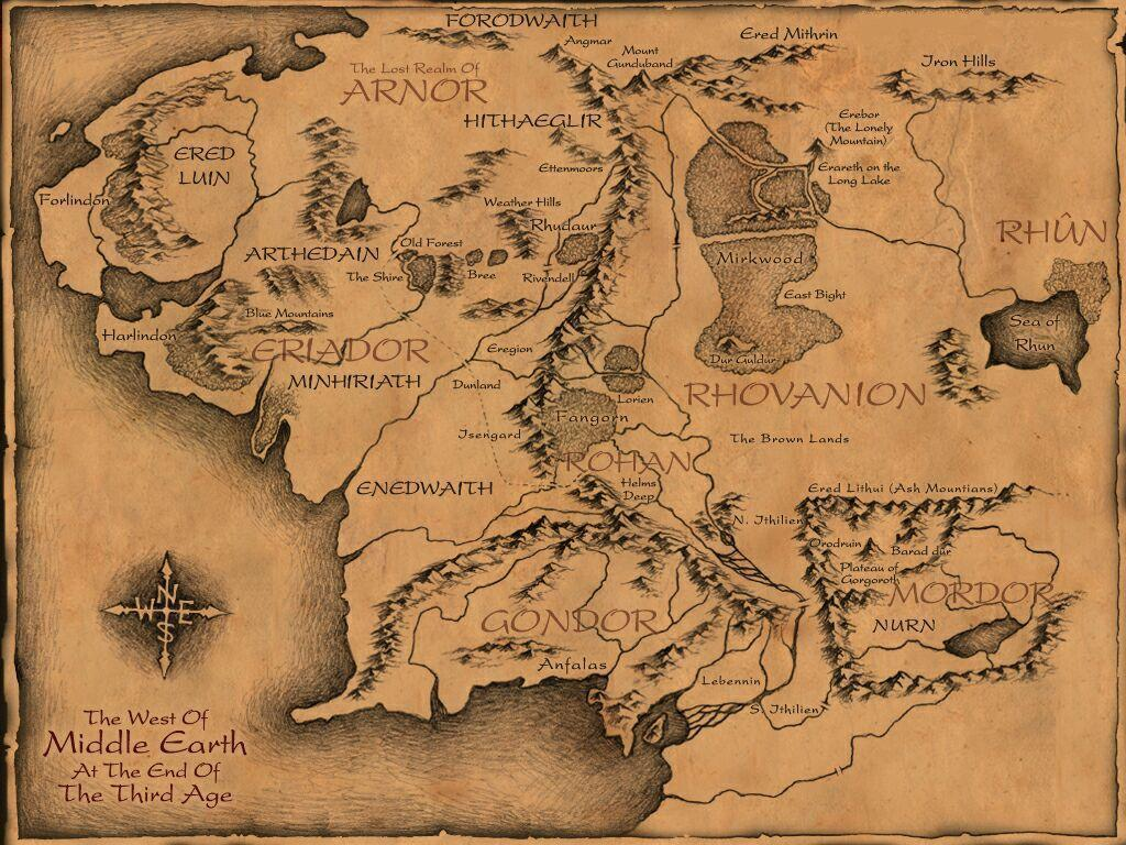 Image For > Detailed Middle Earth Map