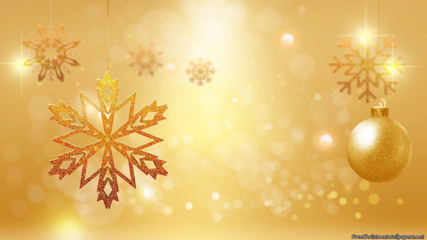 Goldy Christmas Ornaments Wallpaper
