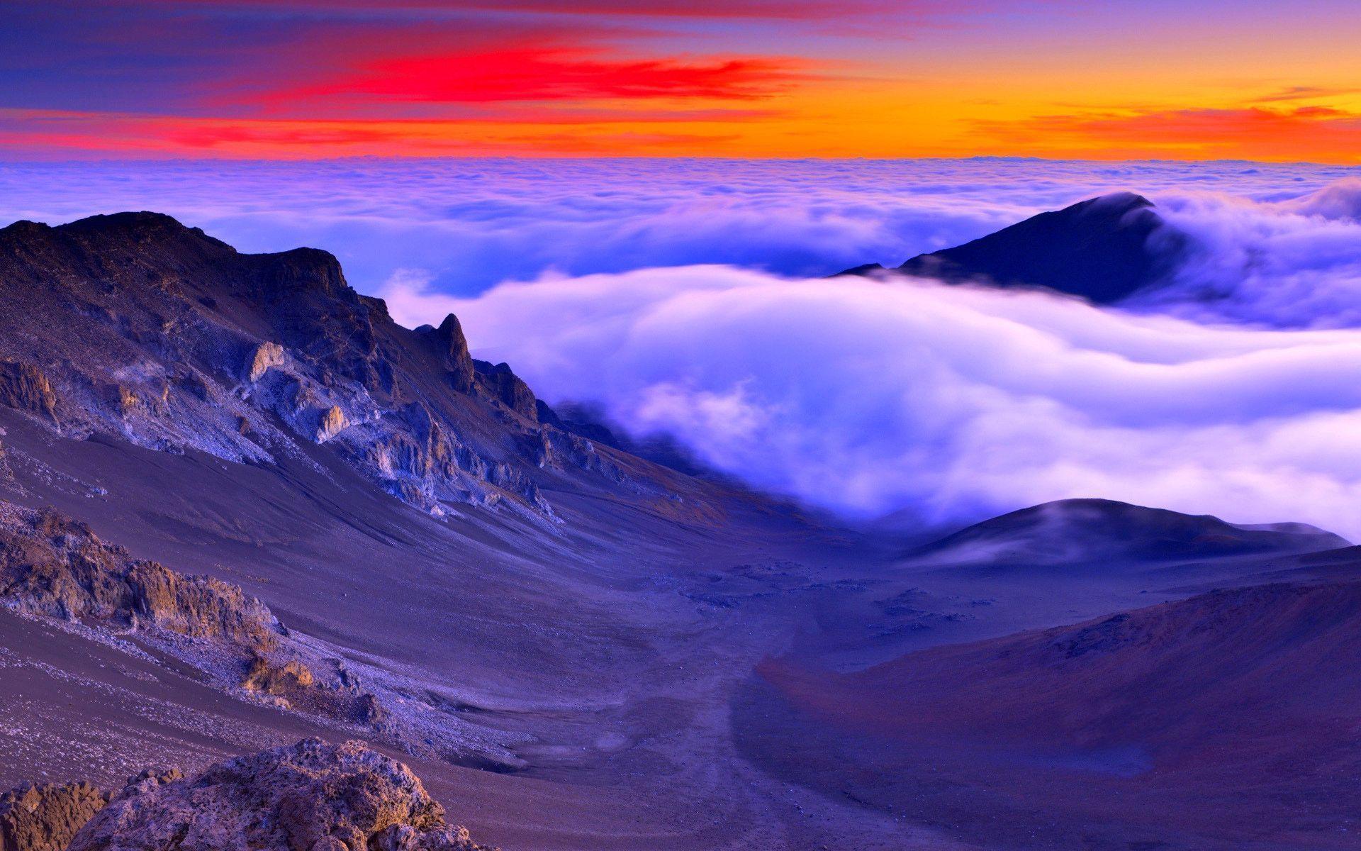 hawaii sunset amazing maui wallpapers nature background awesome mountain mountains name photographs highland lake jebel montane hi volcano haleakala hawai