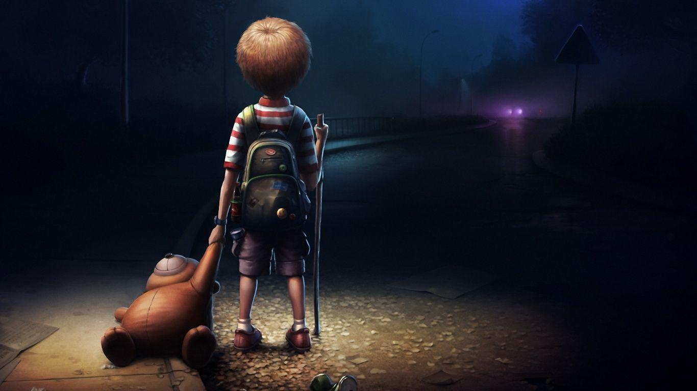Boy : Boy Alone Darkness Wallpaper ~ Anime Wallpaper For Android ...