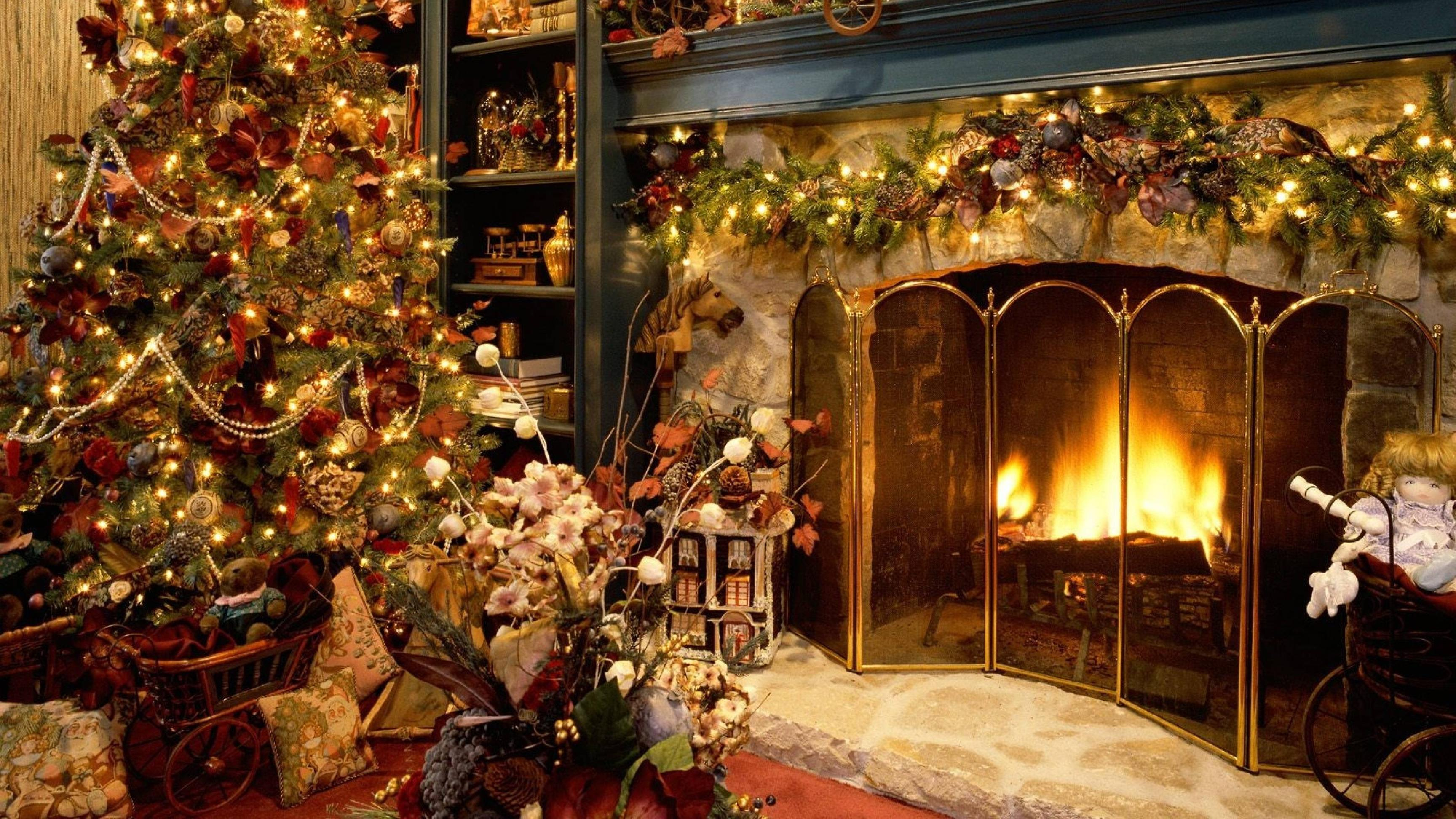 Download Wallpapers 3840x2160 new year, christmas, fireplace, fur