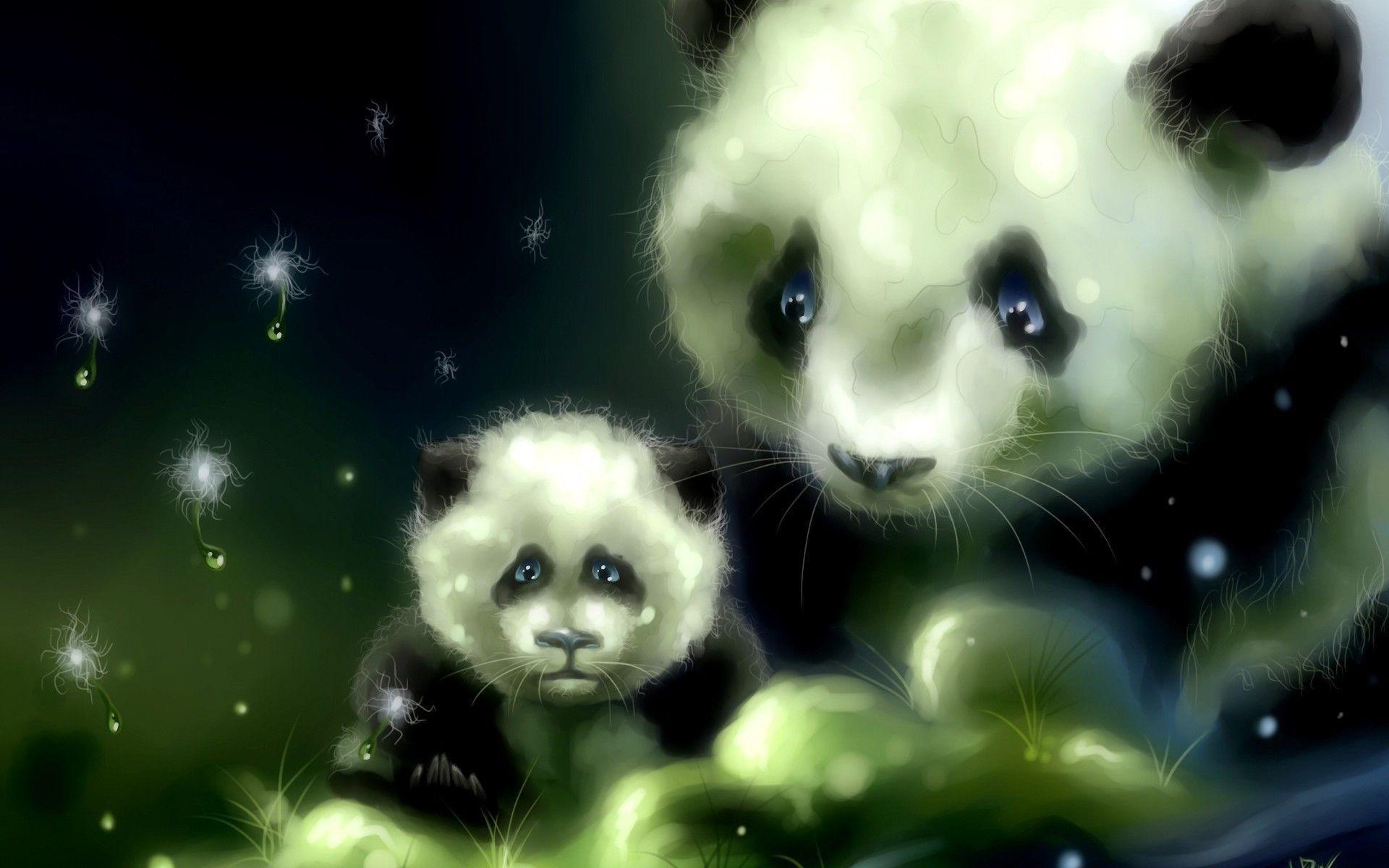 cute panda painting wallpaper - photo #24