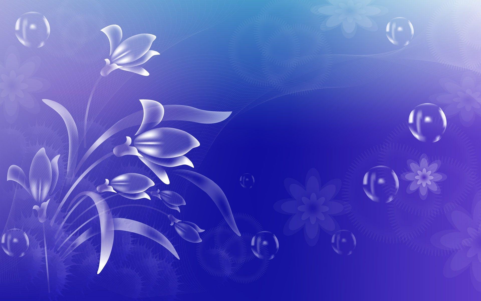 Wallpapers Flowers, Bubbles, On A Blue Backgrounds