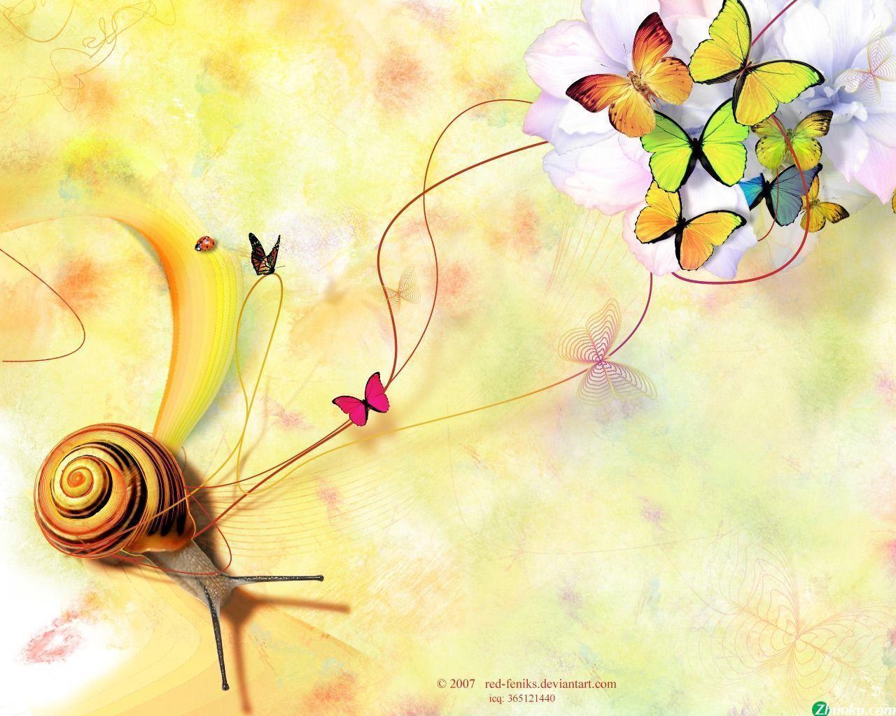 Snail & Butterflies Wallpaper Wallpapers - HD Wallpapers 35568