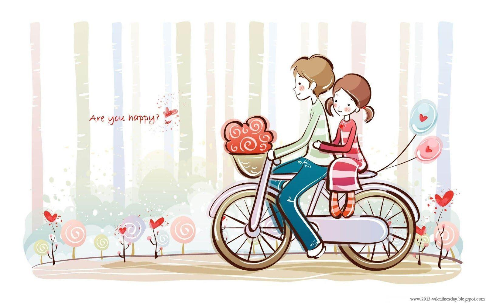 Image For > Cute Couple Love Cartoon Wallpapers