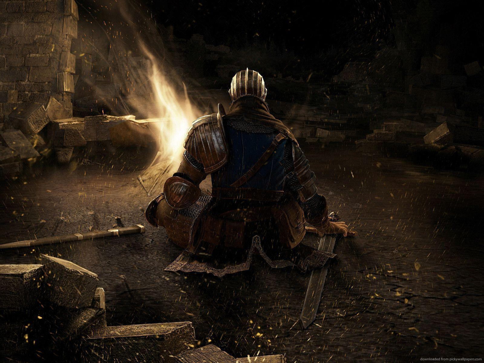 Download 1600x1200 Dark Souls Campfire Wallpapers