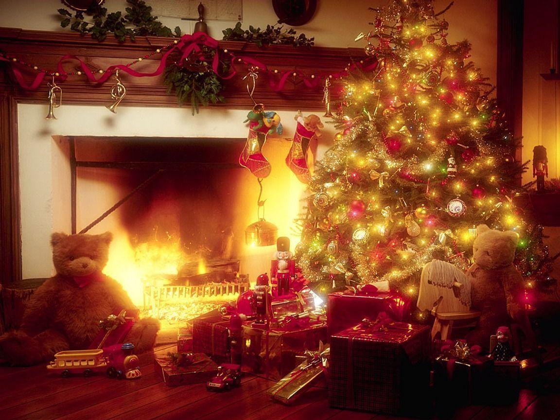 Download Christmas Tree and Fireplace wallpapers