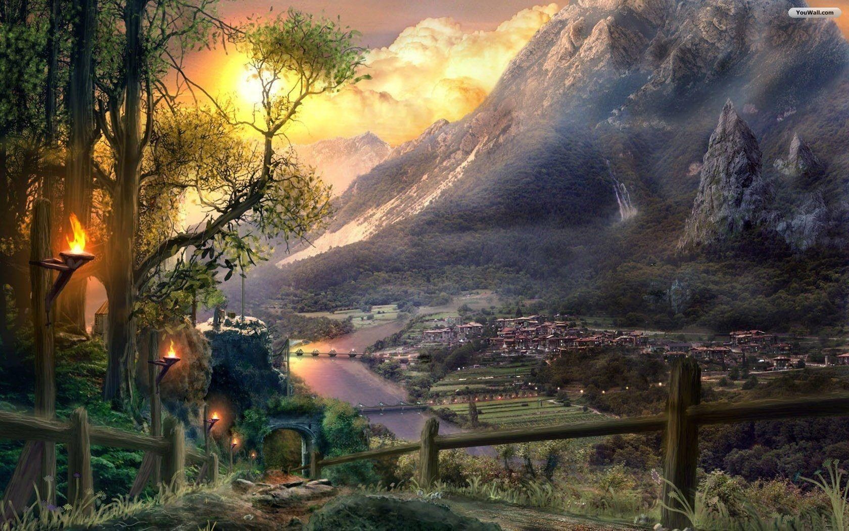 Fantasy world wallpapers wallpaper cave - Art village wallpaper ...