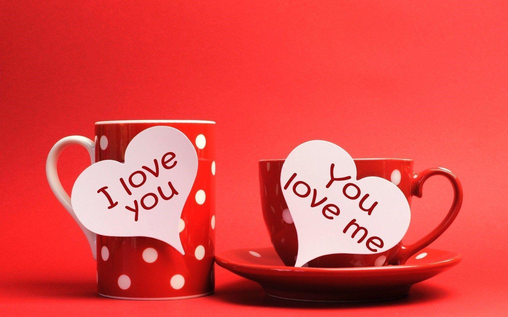 Cups Hearts Inscriptions I Love You You Love Me HD Wallpaper ...