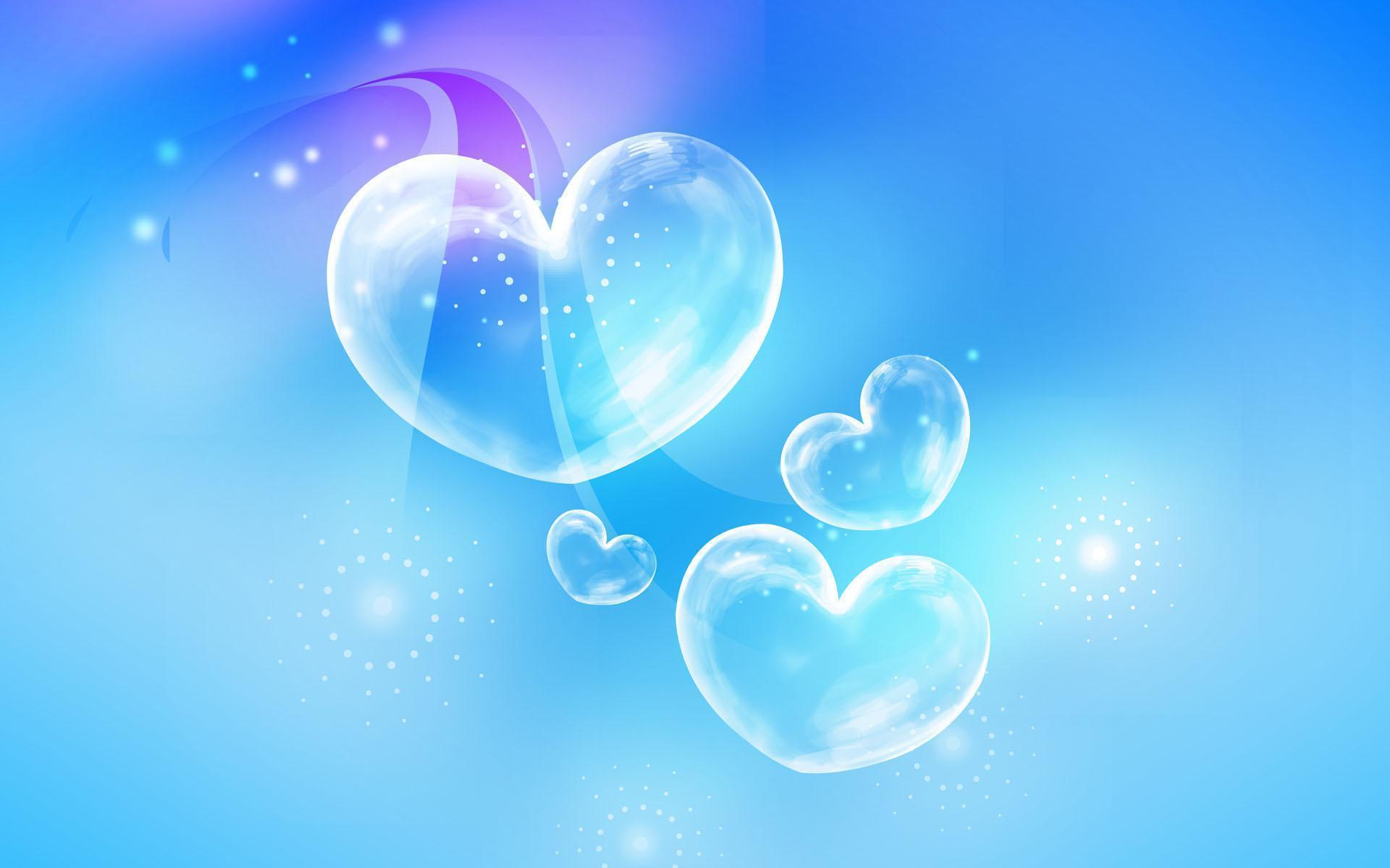 wallpaper rain blue hearts - photo #22