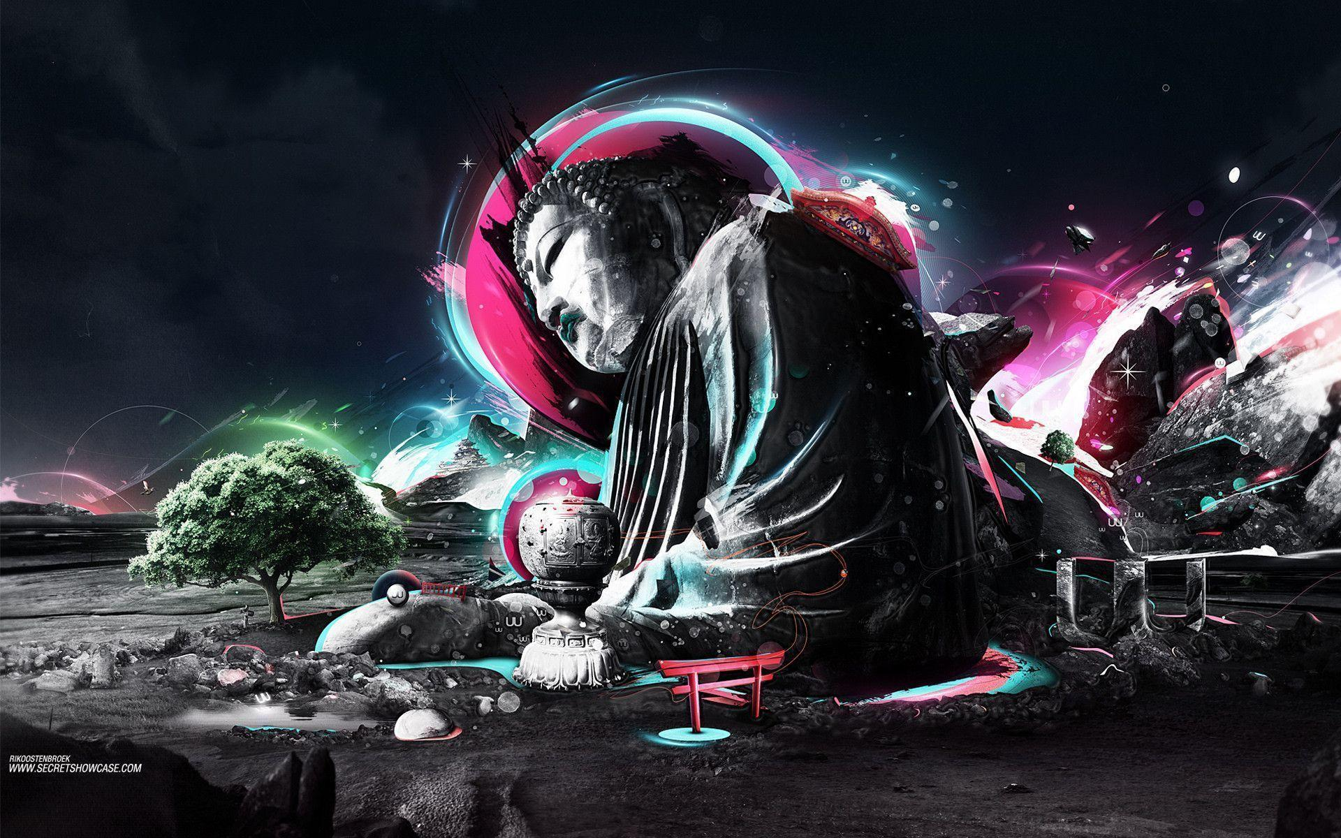 Wallpaper abstraction, a tree, buddha wallpapers style - download