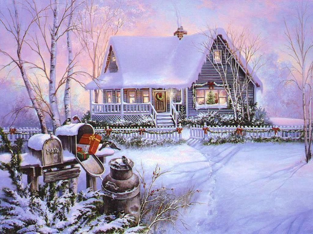christmas art 03 christmas winter scenes wallpaper image