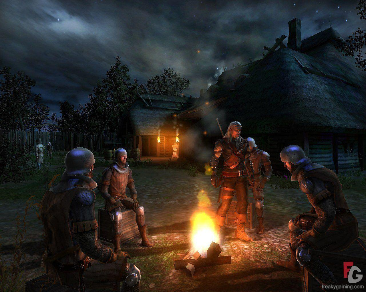 The Witcher Guards Around A Campfire Screenshot