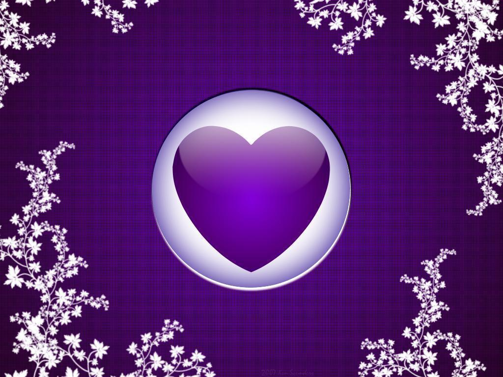 Purple Hearts Flowers Couch Wallpaper Wall Mural